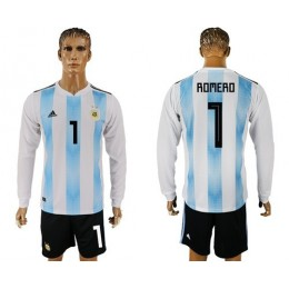 Argentina #1 Romero Home Long Sleeves Soccer/Football Country Jersey