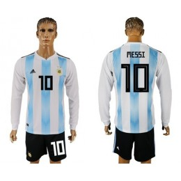 Argentina #10 Messi Home Long Sleeves Soccer/Football Country Jersey