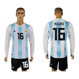 Argentina #16 Rigoni Home Long Sleeves Soccer/Football Country Jersey