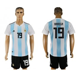 Argentina #19 Banega Home Soccer/Football Country Jersey