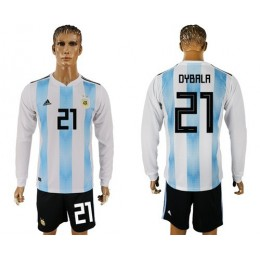 Argentina #21 Dybala Home Long Sleeves Soccer/Football Country Jersey