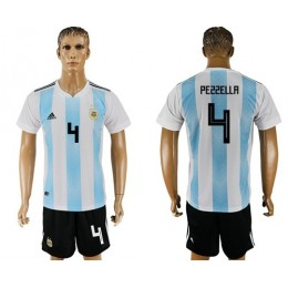 Argentina #4 Pezzella Home Soccer/Football Country Jersey