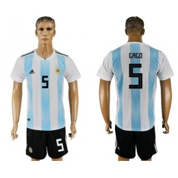 Argentina #5 Gago Home Soccer/Football Country Jersey