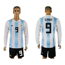 Argentina #9 Icardi Home Long Sleeves Soccer/Football Country Jersey