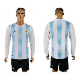 Argentina Blank Home Long Sleeves Soccer/Football Country Jersey