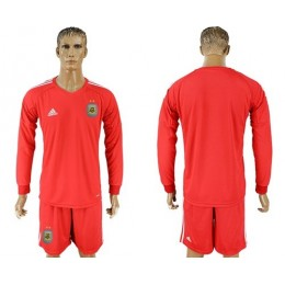 Argentina Blank Red Long Sleeves Goalkeeper Soccer/Football Country Jersey