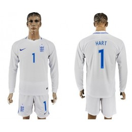 England #1 Hart Home Long Sleeves Soccer/Football Country Jersey