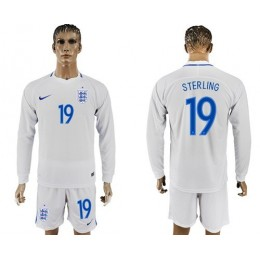 England #19 Sterling Home Long Sleeves Soccer/Football Country Jersey