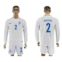 England #2 Walker Home Long Sleeves Soccer/Football Country Jersey