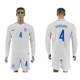 England #4 Gerrard Home Long Sleeves Soccer/Football Country Jersey