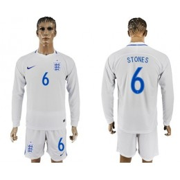 England #6 Stones Home Long Sleeves Soccer/Football Country Jersey