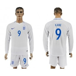 England #9 Kane Home Long Sleeves Soccer/Football Country Jersey
