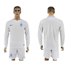 England Blank Home Long Sleeves Soccer/Football Country Jersey