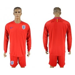 England Blank Red Long Sleeves Goalkeeper Soccer/Football Country Jersey