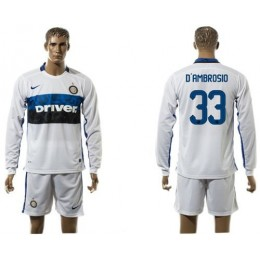Inter Milan #33 D'Ambrosio Home Long Sleeves Soccer/Football Club Jersey