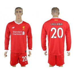 Liverpool #20 Lallana Home Long Sleeves Soccer/Football Club Jersey