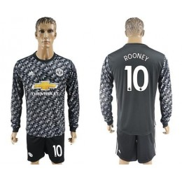 Manchester United #10 Rooney Black Long Sleeves Soccer/Football Club Jersey