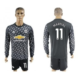 Manchester United #11 Martial Black Long Sleeves Soccer/Football Club Jersey