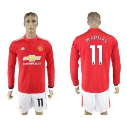 Manchester United #11 Martial Red Home Long Sleeves Soccer/Football Club Jersey