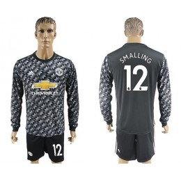 Manchester United #12 Smalling Black Long Sleeves Soccer/Football Club Jersey