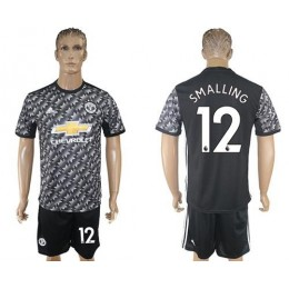 Manchester United #12 Smalling Black Soccer/Football Club Jersey
