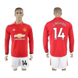 Manchester United #14 Lingard Red Home Long Sleeves Soccer/Football Club Jersey