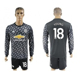 Manchester United #18 Young Black Long Sleeves Soccer/Football Club Jersey