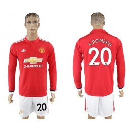 Manchester United #20 S.Romero Red Home Long Sleeves Soccer/Football Club Jersey