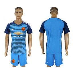 Manchester United Blank Blue Soccer/Football Club Jersey