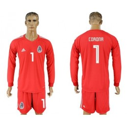 Mexico #1 Corona Red Long Sleeves Goalkeeper Soccer/Football Country Jersey