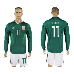 Mexico #11 C.Vela Home Long Sleeves Soccer/Football Country Jersey