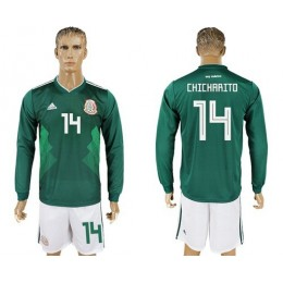 Mexico #14 Chicharito Home Long Sleeves Soccer/Football Country Jersey