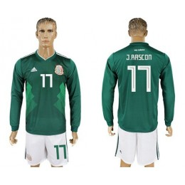 Mexico #17 J.Rascon Home Long Sleeves Soccer/Football Country Jersey