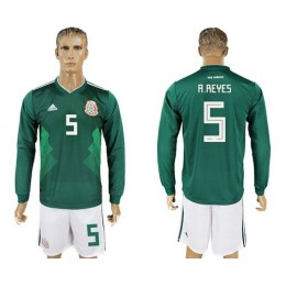 Mexico #5 A.Reyes Home Long Sleeves Soccer/Football Country Jersey