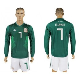 Mexico #7 M.Layun Home Long Sleeves Soccer/Football Country Jersey