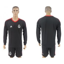 Mexico Blank Black Long Sleeves Goalkeeper Soccer/Football Country Jersey