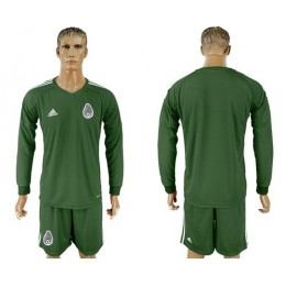 Mexico Blank Green Long Sleeves Goalkeeper Soccer/Football Country Jersey