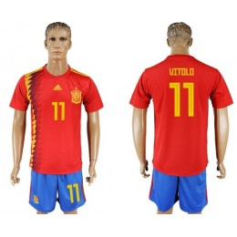 Spain #11 Uitolo Home Soccer/Football Country Jersey