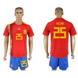 Spain #25 Reina Home Soccer/Football Country Jersey