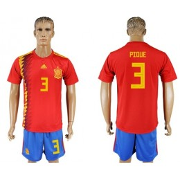 Spain #3 Pique Home Soccer/Football Country Jersey