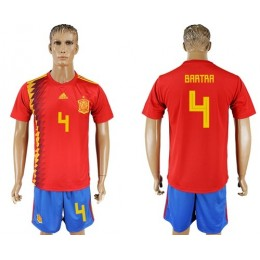 Spain #4 Bartra Home Soccer/Football Country Jersey