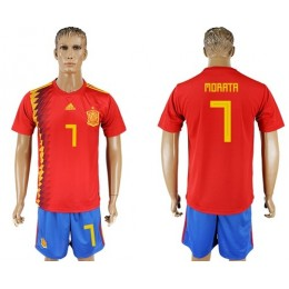 Spain #7 Morata Home Soccer/Football Country Jersey
