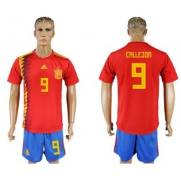 Spain #9 Callejon Home Soccer/Football Country Jersey