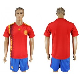 Spain Blank Home Soccer/Football Country Jersey
