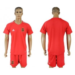 Spain Blank Red Goalkeeper Soccer/Football Country Jersey