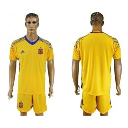 Spain Blank Yellow Goalkeeper Soccer/Football Country Jersey